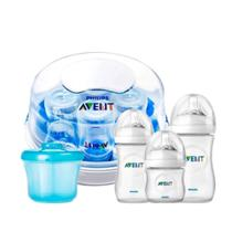 Kit 3 Mamadeiras Pétala Anticólica Avent 125 260 330 ml Esterilizador Microondas Dosador Leite Azul - Philips Avent
