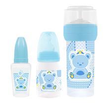 Kit 3 Mamadeiras Primeiros Passos 50/120/260ml Azul - Lillo -