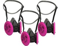 Kit 3 Mascara Respirador 3M 6200 Com Filtros Rosa 2091 3M HB004211460 H0002317263 -
