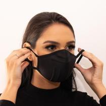 Kit 3 Mascara Reutilizável Tecido Lavável Tripla Camada Antibacteriana Tam M Adulto Cor Preta - Bm