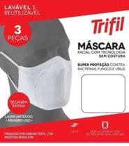 Kit 3 Máscaras De Proteção Trifil Fit Antimicrobial Lavável branca - Dani Lingerie