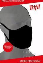 Kit 3 Máscaras Pretas Trifil 6103 Dupla Camada, Zero Costura e Fio Antiviral. -