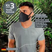 Kit 3 Máscaras Tecido AntiVirBac Filtragem Compatível N95 Lavável Anatômica Íons de Prata Preta - Brasilm