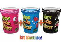 KIT 3 massinha Slime Ecão GLITTER CORES SORTIDAS - Dtc