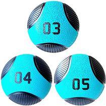 Kit 3 Medicine Ball Liveup PRO 3 4 e 5 kg Bola de Peso Treino Funcional LP8112 - Liveup Sports