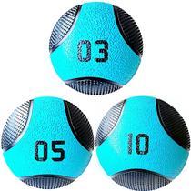Kit 3 Medicine Ball Liveup PRO 3 5 e 10 kg Bola de Peso Treino Funcional LP8112 -