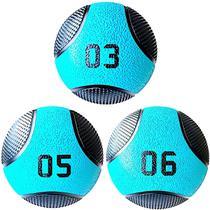 Kit 3 Medicine Ball Liveup PRO 3 5 e 6 kg Bola de Peso Treino Funcional LP8112 -