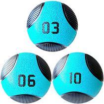 Kit 3 Medicine Ball Liveup PRO 3 6 e 10 kg Bola de Peso Treino Funcional LP8112 -