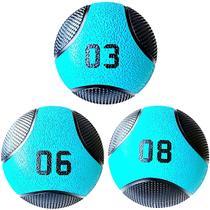 Kit 3 Medicine Ball Liveup PRO 3 6 e 8 kg Bola de Peso Treino Funcional LP8112 -