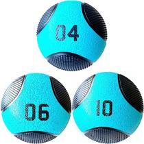 Kit 3 Medicine Ball Liveup PRO 4 6 e 10 kg Bola de Peso Treino Funcional LP8112 -