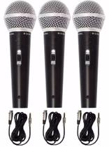 kit 3 Microfone profissional dinamico com fio M-58 Sm-58 + 3 cabos 5 metros - Wn