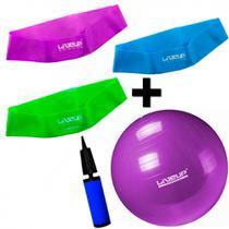 Kit 3 Mini Bands Tensao Media + Forte + Super Forte + Bola 55 Cm  Liveup -