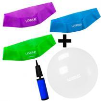 Kit 3 Mini Bands Tensao Media + Forte + Super Forte + Bola 65 Cm Transparente  Liveup -