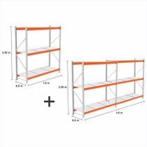 kit 3 Mini Porta Pallet 2 Inicial + 1 cont 250KG 3 niveis 2,00X1,80X0,60 bandejas em MDF BRANCO - Amapa