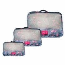 Kit 3 Necessaire Organizador Bagagem Mala Viagem Flamingo ys27065 - Y.brasil