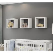 Kit 3 Nichos para Quarto de Bebê Quadrado Aquarela - Branco - Henn