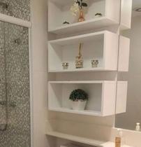 Kit 3 nichos retangular para banheiro MDF branco TX - Móveis Alice