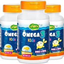 Kit 3 Ômega 3 Kids 500mg Unilife 60 Cápsulas -