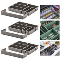 Kit 3 Organizador De Gaveta Divisor Porta Talheres Com Extensor 40x33x6,5cm - Paramount -