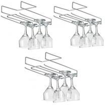 Kit 3 Organizador suporte porta taça suspenso de encaixe aço cromado - Arthi