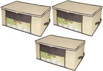 Kit 3 Organizadores Tnt Caixa Enxoval Cama Edredom Box Toalha Cor: Bege - Unica