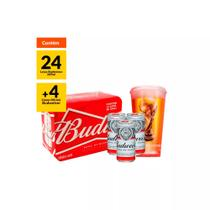 Kit 3 packs (24 Latas) 269ml + 4 copos Budweiser -