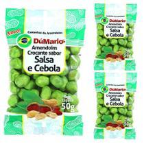 Kit 3 Pacotes Amendoim Crocante Sabor Cebola Salsa 50 gramas - Amendoim dumario