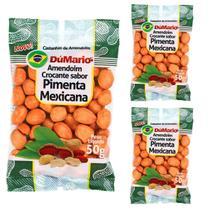 Kit 3 Pacotes Amendoim Crocante Sabor Pimenta Mexicana 50 gramas - Amendoim dumario