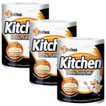 Kit 3 Pacotes Papel Toalha Folha Tripla Kitchen - 300 Folhas -