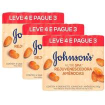 kit 3 Pacotes Sabonetes Barra Johnson's Amêndoas 80g Leve 4 Pague 3 -