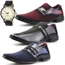 Kit 3 Pares Sapato Social Dhl Masculino Azul, Marrom e Vermelho + Relógio - Dhl Calçados