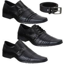 Kit 3 Pares Sapato Social Masculino Conforto Moderno + Cinto - Eleganci