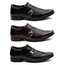 Kit 3 Pares Sapato Social Masculino Verniz Conforto Macio - Hshoes
