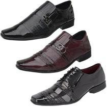 Kit 3 Pares Sapato Social Masculino Verniz Conforto Moderno - Eleganci