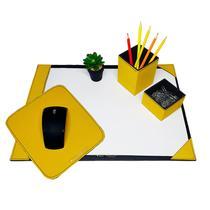 Kit 3 pç escritório a3 + caneta e clips mousepad amarelo - Apparatos