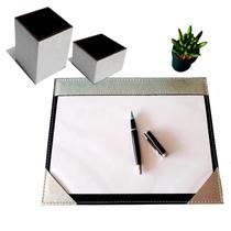 Kit 3 pç escritório a4 + caneta e clips prata e preto - Apparatos