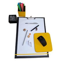 Kit 3 pç prancheta a4 mousepad can clips receituario amarelo - Apparatos
