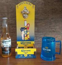 Kit 3 pçs  Cervejeiro - Abridor + Caneca Térmica + Porta Garrafa Neoprene Corona Beer - Tiger Gifts