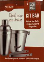 Kit 3 peças balde de gelo  coqueteleira pegador inox CLINK -