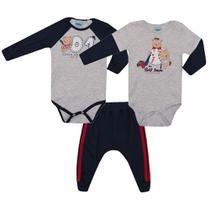 Kit 3 peças Body e Calça Bebê Malha Baseball - Serelepe Kids