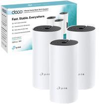 Kit 3 peças - Roteador Fast Wifi TP-Link Rede Mesh AC1200 Mbps Dual Band 2.4Ghz e 5.0Ghz 3 em 1 - DECO E4 -