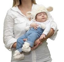 Kit 3 Peças Touca, Luvas E Pantufas Para Bebê Ovelha Plush 6 a 9 Meses - Casa Pedro