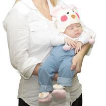 Kit 3 Peças Touca, Luvas E Pantufas Para Bebê Ursa Rosa Plush 6 a 9 Meses - Casa Pedro