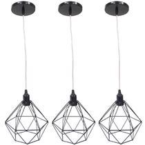 Kit 3 Pendente Aramado Diamante Luminárias Lustre Cabo Cristal P Teto Retrô Agp Ilumini Industrial -