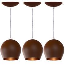 Kit 3 Pendentes Bola (Café Textura / Bronze) - Shop Da Iluminação