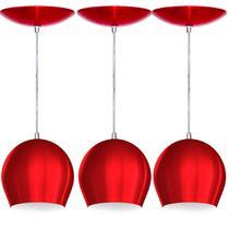 Kit 3 Pendentes Bola (Vermelho Metálico / Branco) - Shop Da Iluminação