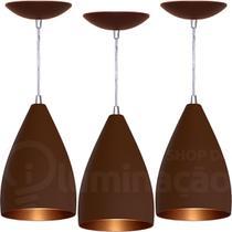 Kit 3 Pendentes Vegas (Café Textura / Bronze) - Shop Da Iluminação