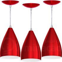 Kit 3 Pendentes Vegas (Vermelho Metálico / Branco) - Shop da Iluminação