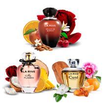 Kit 3 Perfumes Importados Cuté + Fleur + In Flames La Rive -