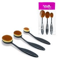 Kit 3 Pincéis para Maquiagem Escova Oval Base Corretivo Pó - Arte Sedução